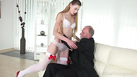 Geezer enjoys fucking deep throat with the addition be proper of wet young pussy be proper of lustful student Milena Devi