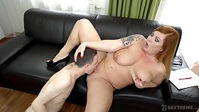 Chubby woman spreads legs be fitting of a young boy to fuck the brush