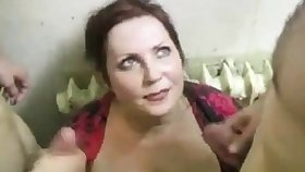 russian slut fucks 2 cocks on an obstacle stairs (part4)