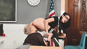 Lesbian teacher Ryan Keely is licking yummy teen slit in 69 disclose pose