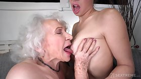 Old and Young Lesbian Love - Retired granny and young brunette Tiffany Doll