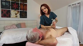 Pensioner enjoys screwing red haired young masseuse Hanna Hayes