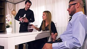 Nasty wife Britney Amber bangs her lover in front of tied up husband