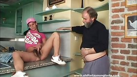 Old supplicant with a epigrammatic dick pokes hairy pussy of younger Alena